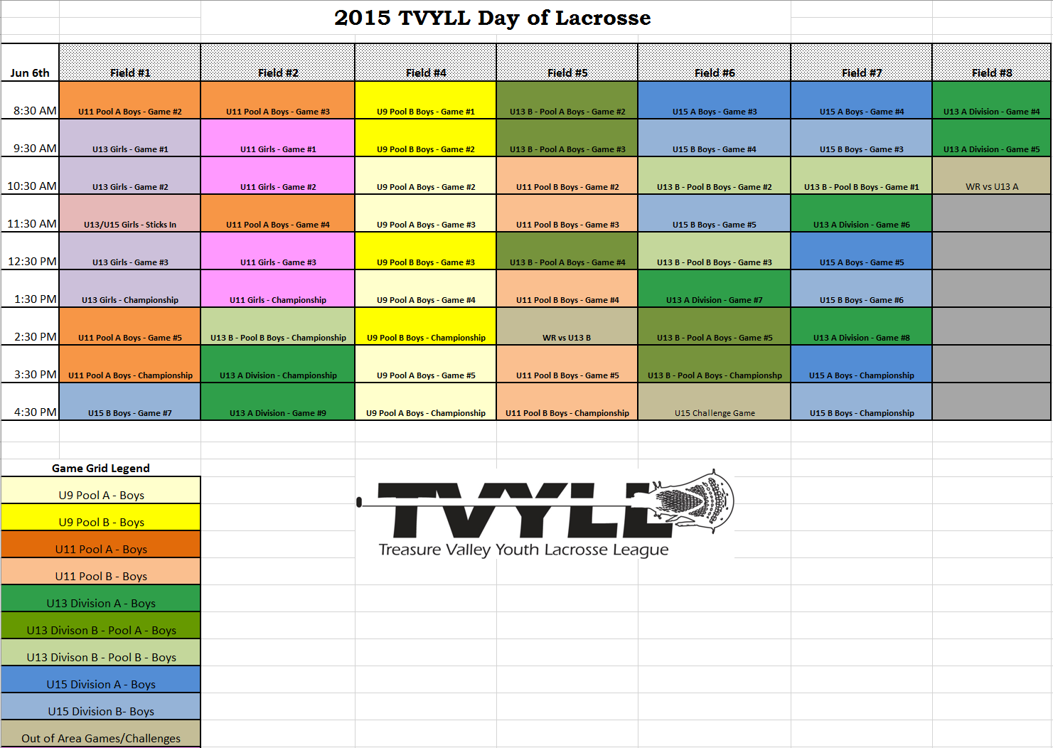 2015 TVYLL Day of Lacrosse Schedule
